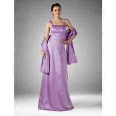 Spaghetti Straps Long Satin Winter Bridesmaid Dresses with Wraps