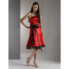 Discount Red Strapless Satin Short Bridesmaid Dresses with Sashes