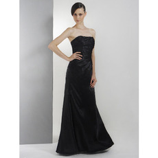 Sheath/ Column Strapless Floor-Length Satin Winter Bridesmaid Dresses