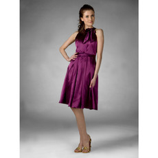 Discount Custom Sexy High-Neck Knee-Length Satin Bridesmaid Dresses