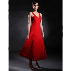 Sexy Straps Tea-Length Red Chiffon Bridesmaid/ Wedding Party Dresses