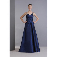 Spaghetti Straps Long Taffeta Bridesmaid Dresses for Winter Wedding