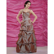 Ball Gown Spaghetti Straps Floor-Length Taffeta Bridesmaid Dresses