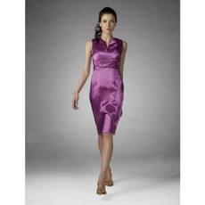 Sheath V-Neck Knee-Length Satin Bridesmaid/ Wedding Party Dresses