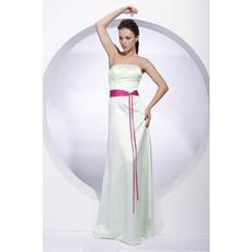 Winter Column Strapless Floor-Length Satin Bridesmaid Dresses