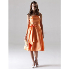 Sexy One Shoulder Orange Satin Short Bridesmaid/ Wedding Party Dresses