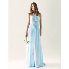 Elegant Halter Long Chiffon Fall Bridesmaid/ Wedding Guest Dresses