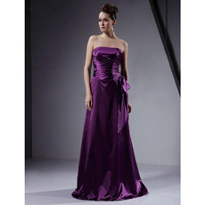 Affordable Strapless Long Elastic Satin Winter Bridesmaid Dresses