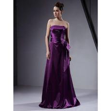 Affordable Strapless Long Elastic Satin Winter Bridesmaid Dresses