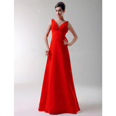 Sexy V-Neck Red Floor-Length Chiffon Bridesmaid/ Wedding Party Dresses