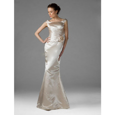 Sexy Mermaid Satin Long Winter Bridesmaid/ Wedding Party Dresses