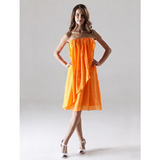 Affordable Orange Chiffon Strapless Short Summer Bridesmaid Dresses