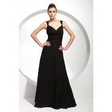 Black Sweetheart Floor-Length Chiffon Bridesmaid/ Wedding Party Dresses