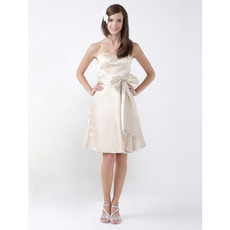 Affordable Short Sweetheart Satin Bridesmaid/ Wedding Party Dresses