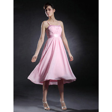 Spaghetti Straps Chiffon A-Line Knee Length Pink Bridesmaid Dresses