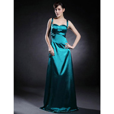 Spaghetti Straps Floor-Length Elastic Satin Winter Bridesmaid Dresses