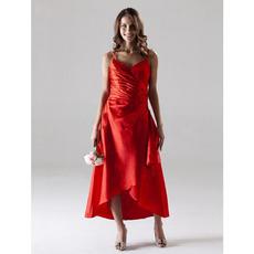 Asymmetric Spaghetti Straps Satin Bridesmaid/ Wedding Party Dresses