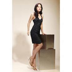 Sheath/ Column Straps Short/ Mini Taffeta Cocktail/ Little Black/ Homecoming Dress
