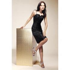 Sheath/ Column Spaghetti Straps Short/ Mini Elastic Silk-Like Satin Cocktail/ Little Black/ Homecoming Dresses