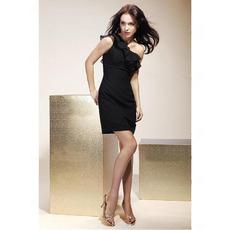 Sheath/ Column One Shoulder Short/ Mini Chiffon Matte Satin Cocktail/ Little Black/ Homecoming Dress