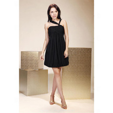 Empire V-neck Short/ Mini Chiffon Matte Satin Cocktail/ Little Black/ Homecoming Dress