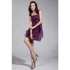 Discount Modest A-Line Square Organza Short Homecoming / Prom Dresses