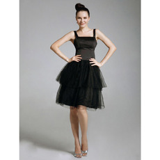 A-Line Square Knee-Length Organza Black Cocktail Dresses inspired by Blair in Gossip Girl