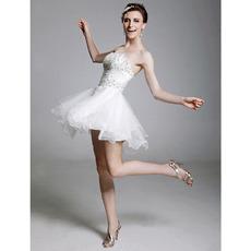 A-Line Strapless Sleeveless Mini/ Short Satin Tulle Cocktail/ Prom Dresses