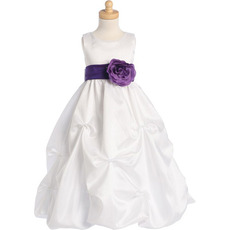 2016 Custom Pick-Up Skirt Taffeta First Communion Dresses with Belts