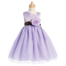 Discount Adorable Asymmetric Tea Length Flower Girl Dresses with Belts