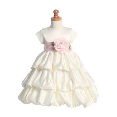 Inexpensive Cute Layered Skirt First Communion Dress with Short Sleeves