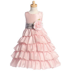 2018 Adorable Princess Layered Skirt Flower Girl Dresses with Belts