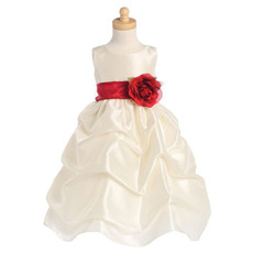 2018 Adorable Taffeta Pick-Up Skirt First Communion Dresses with Belts