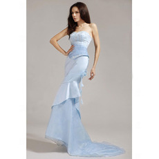 Affordable Mermaid Long Evening Dress/ Elegant Sweetheart Organza Prom Dress