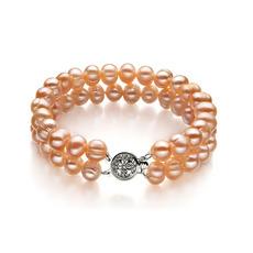 Pink 6-7mm Double Strand Freshwater Pearl Bracelet