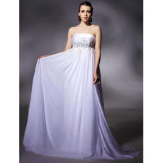 Affordable Empire Chiffon Evening Dress/ Elegant Long White Prom Dress
