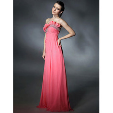 Elegant Empire Sweetheart Floor Length Pink Chiffon Evening/ Prom Dresses