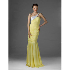 Inexpensive Mermaid One Shoulder Long Chiffon Evening/ Prom Dresses