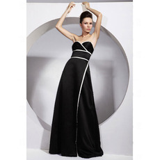 2018 Satin Long Evening Dress/ Stylish Black A-Line Prom Dress