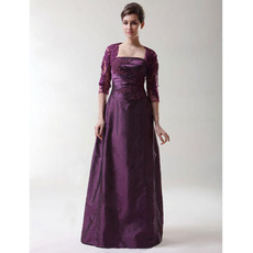 A-Line Long Evening Dress with Jacket/ Strapless Taffeta Prom Dress