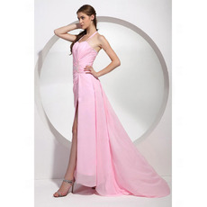 Sheath Chiffon Evening Dress/ Long Pink Evening Dress