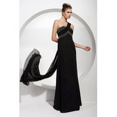 Stylish Empire One Shoulder Floor Length Chiffon Black Evening Dresses