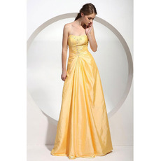 A-Line Sweetheart Floor Length Taffeta Evening/ Prom Dresses