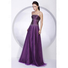 A-Line Organza Evening Dress/ Long Strapless Prom Dress