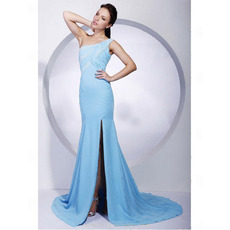 Mermaid Chiffon Evening Dress/ Long One Shoulder Prom Dress
