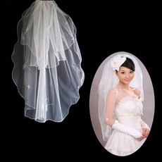 2 Layers Tulle Wedding Veil with Applique