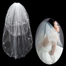 3 Layers Tulle Wedding Veil with Embroidery