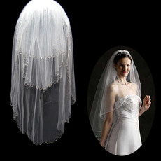 3 Layers Tulle Wedding Veil with Chain