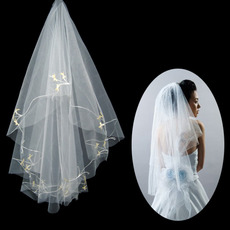 1 Layer Tulle Wedding Veil with Embroidery