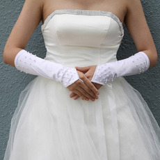 White Satin Hollow Out Wedding Gloves with Beading